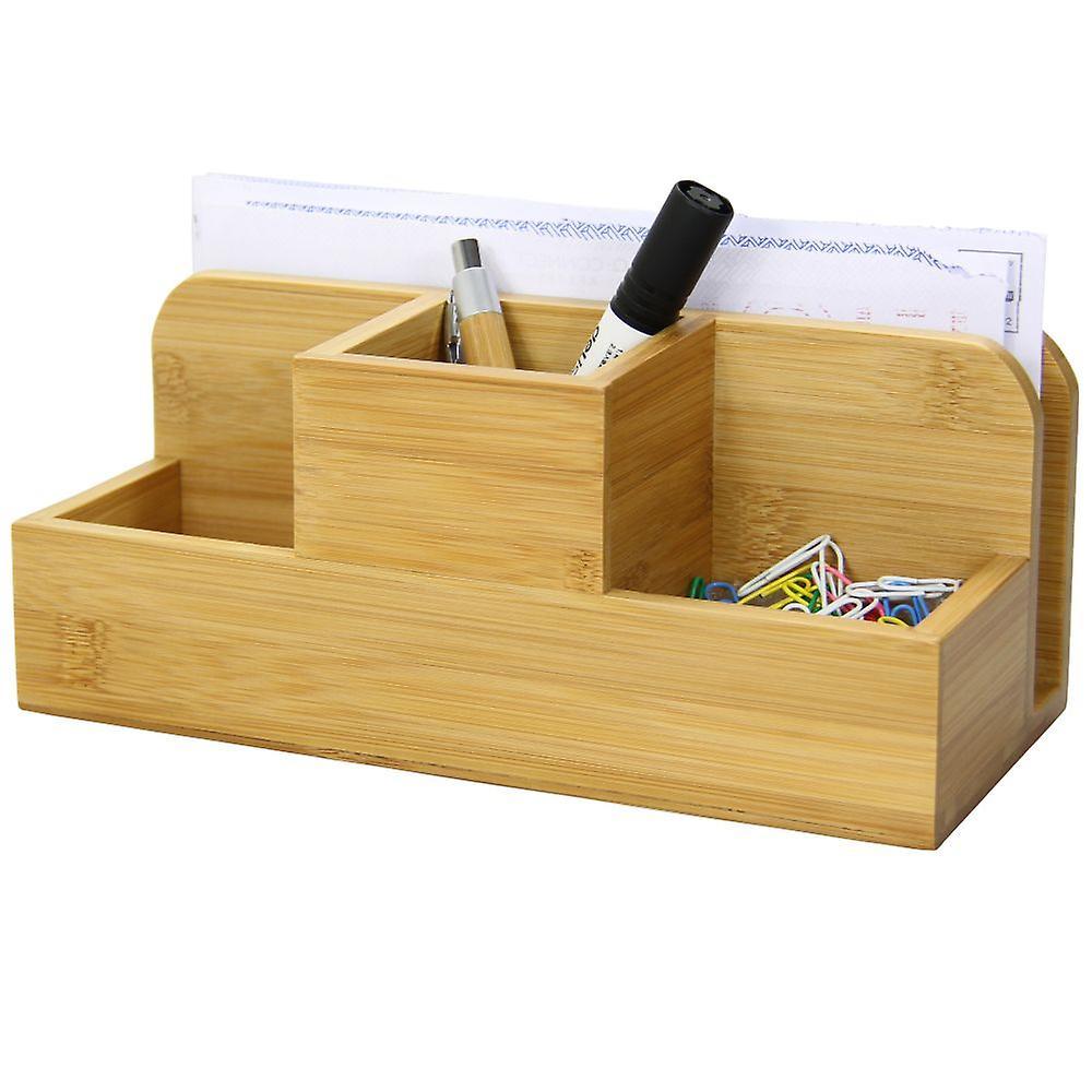 Woodquail bamboo desk stationery organiser pen pencil letter rack holder fruugo - Desk stationery organiser ...