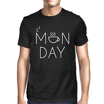 Mäns Funny svart Graphic T-Shirt-måndag Grafisk Design kaffekopp