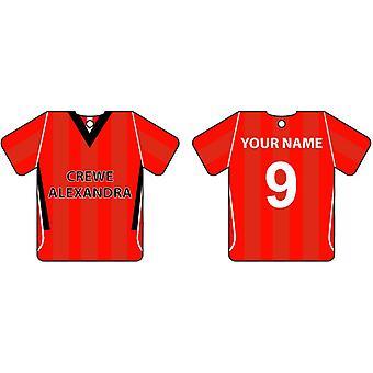 Ambientador de coche personalizado Crewe Alexandra Football camiseta