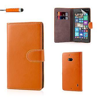 Book wallet PU leather case cover for Nokia Lumia 930 + stylus - Orange