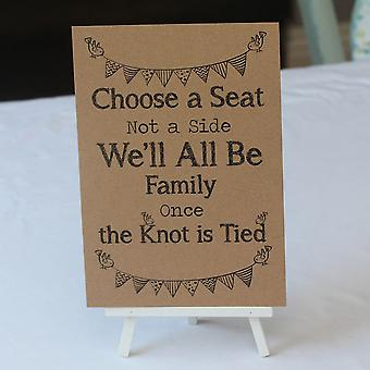 Wedding Church / Ceremony Sign Kraft Brown 'Choose a Seat' Sign And Easel