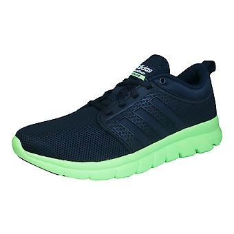 adidas Neo Cloudfoam Groove Mens Running Trainers / Shoes - Black and Lime
