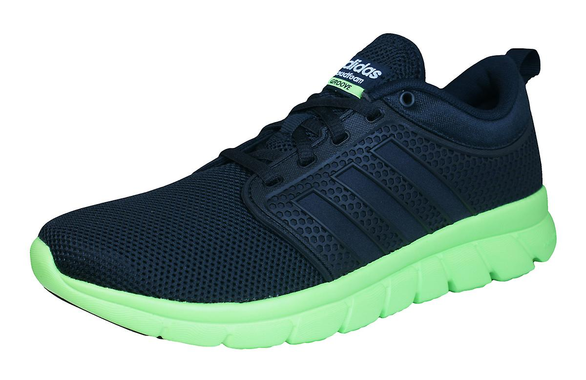 adidas Neo Cloudfoam / Groove Mens Running Trainers / Cloudfoam Shoes - Black and Lime fe5ac6