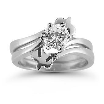 Holy Spirit Dove CZ Engagement Ring Set, 14K White Gold