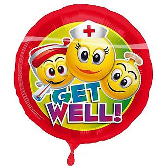Foil balloon smiley get well 43 cm balloon helium balloon get well
