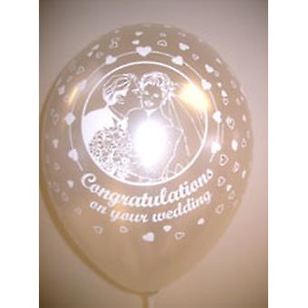 """Balloons 'CONGRATULATIONS ON YOUR WEDDING' Ivory 12"""""""