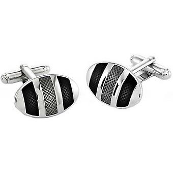 Duncan Walton Kinver Rhodium Plated Oval Cufflinks - Grey