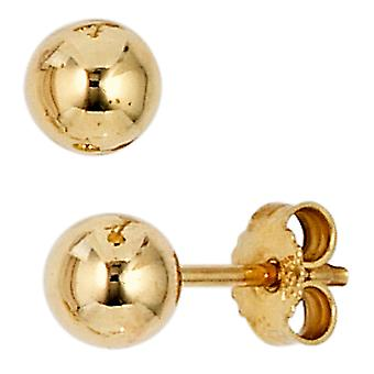 Ball studs earrings Pearl 333 gold yellow gold earring gold