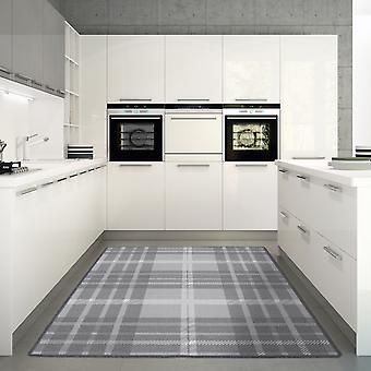 Moderne skridsikre Tartan grå køkken Mat - Luna
