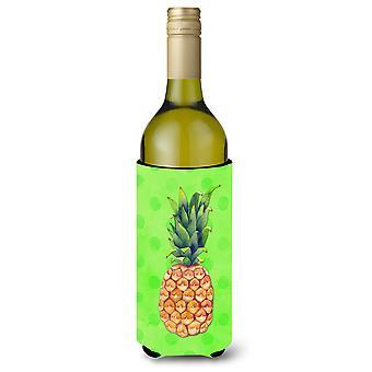 Pineapple Green Polkadot Wine Bottle Beverge Insulator Hugger