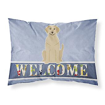 Yellow Labrador Welcome Fabric Standard Pillowcase