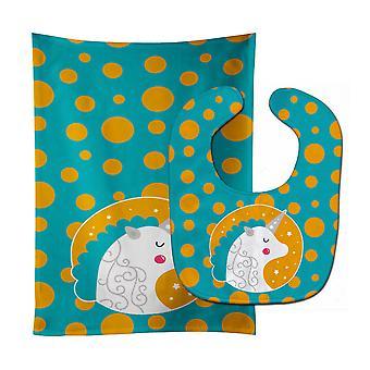 Carolines schatten BB7137STBU Unicorn oranje Polkadots Baby Slabbetje & Burp doek