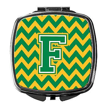 Carolines Treasures  CJ1059-FSCM Letter F Chevron Green and Gold Compact Mirror