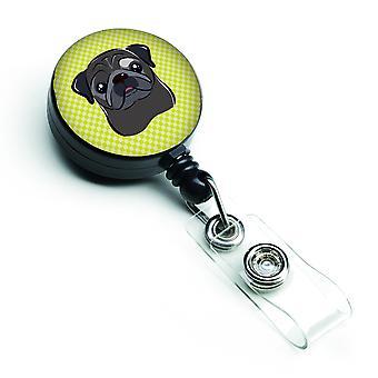 Dambord Lime groen zwart Pug intrekbare Badge Reel