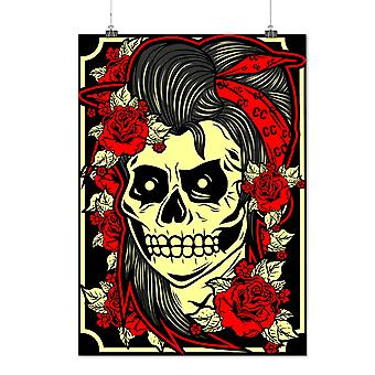 Matte or Glossy Poster with Girl Gang Face Head Skull | Wellcoda | *d2003