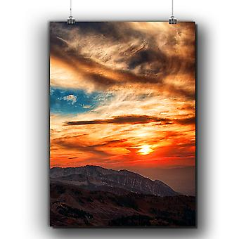 Matte or Glossy Poster with Evening Mountain Nature | Wellcoda | *q303