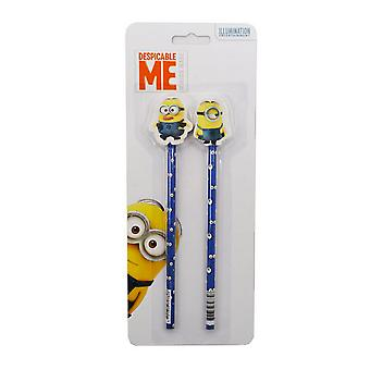 Despicable Me Official Minions Pencil & Rubber Topper Set (Pack Of 2)