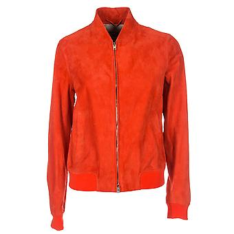 Herno women's PL0075D180546010 red suede jacket