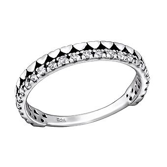 Hearts - 925 Sterling Silver Jewelled Rings - W28177X