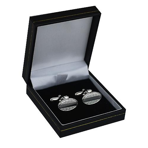 Silver 12x19mm oval Centre space engine turned swivel Cufflinks