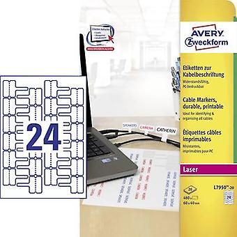 Avery-Zweckform L7950-20 Labels (A4) 60 x 40 mm Polyester film