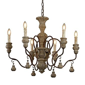 Amalfi Rustic Brown Six Light Ceiling Pendant - Searchlight 5836-6br