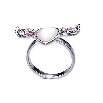 Ring hart, vleugel in de moeder van de parel en kristal Swarovski elementen Rose wit