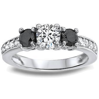 1ct Black & White Diamond 3 Stone Ring 14K White Gold