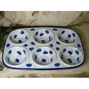 Baking pan, 29 x 20 x 4 cm, with 6 bowls, tradition 22-bolesławiec castle, BSN 21606
