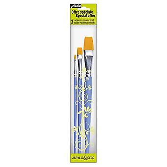 Pebeo akryl & Deco-sæt af 3 flade pensler