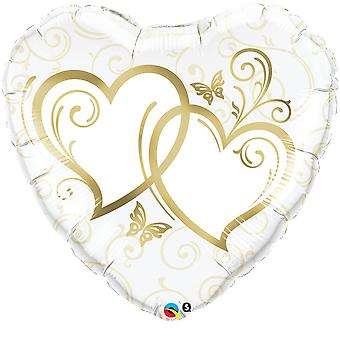 Qualatex 36 Inch Heart-Shaped Entwined Hearts Foil Wedding/Anniversary Balloon