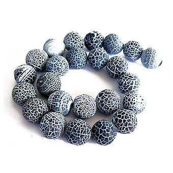 Packet 8 x Grey Frosted Cracked Agate 8mm Plain Round Beads VP1425