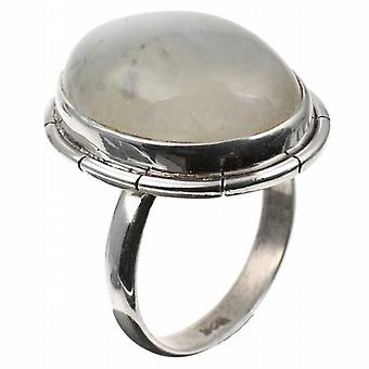 Silver Blue Fire Moonstone Oval Ring