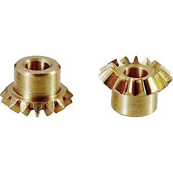 Ruota di ottone ingranaggi conici Reely modulo tipo: 0,75 No. dei denti: 20, 20 1 paio