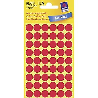 Avery-Zweckform 3141 Labels Ø 12 mm Paper Red 270 pc(s) Permanent Sticky dots