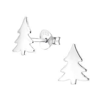 Christmas Tree - 925 Sterling Silver Plain Ear Studs - W28605x