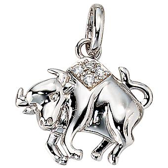 Zodiac pendant Bull with cubic zirconia 925 Silver rhodium-plated