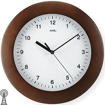 Wall clock radio Walnut varnished solid wood case mineral glass