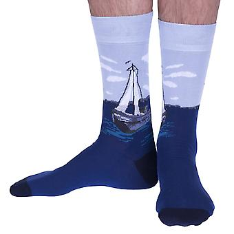 The Fishing Boat luxury cotton dress sock in marine | Made in Wales by Corgi