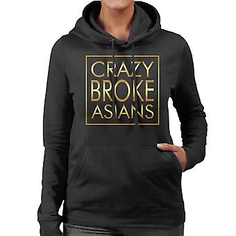 Crazy Broke Asians Gold Text Women's Hooded Sweatshirt