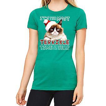 Kelly verde divertido t-shirt gato gruñón Terrible mujer