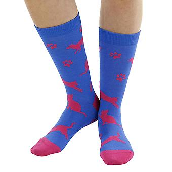 Meow Cat soft bamboo organic crew sock in blue | seriouslysillysocks