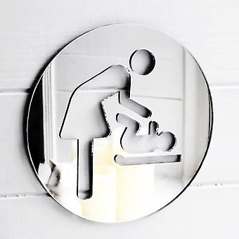 Mother & Baby Changing Room Circle Acrylic Mirrored Door Sign
