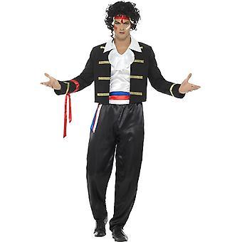 80er Jahren neue romantische Kostüm, schwarz, mit Jacke, Hose, Hemd & Stirnband