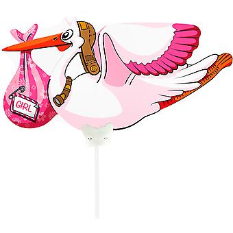 Foil balloon with rod Stork birth baby girl about 38 x 25 cm