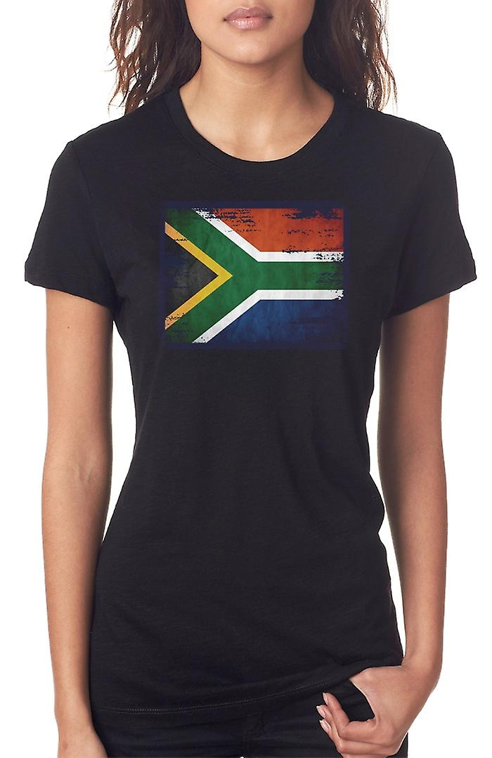 South African South Africa Grunge Flag Ladies T Shirt