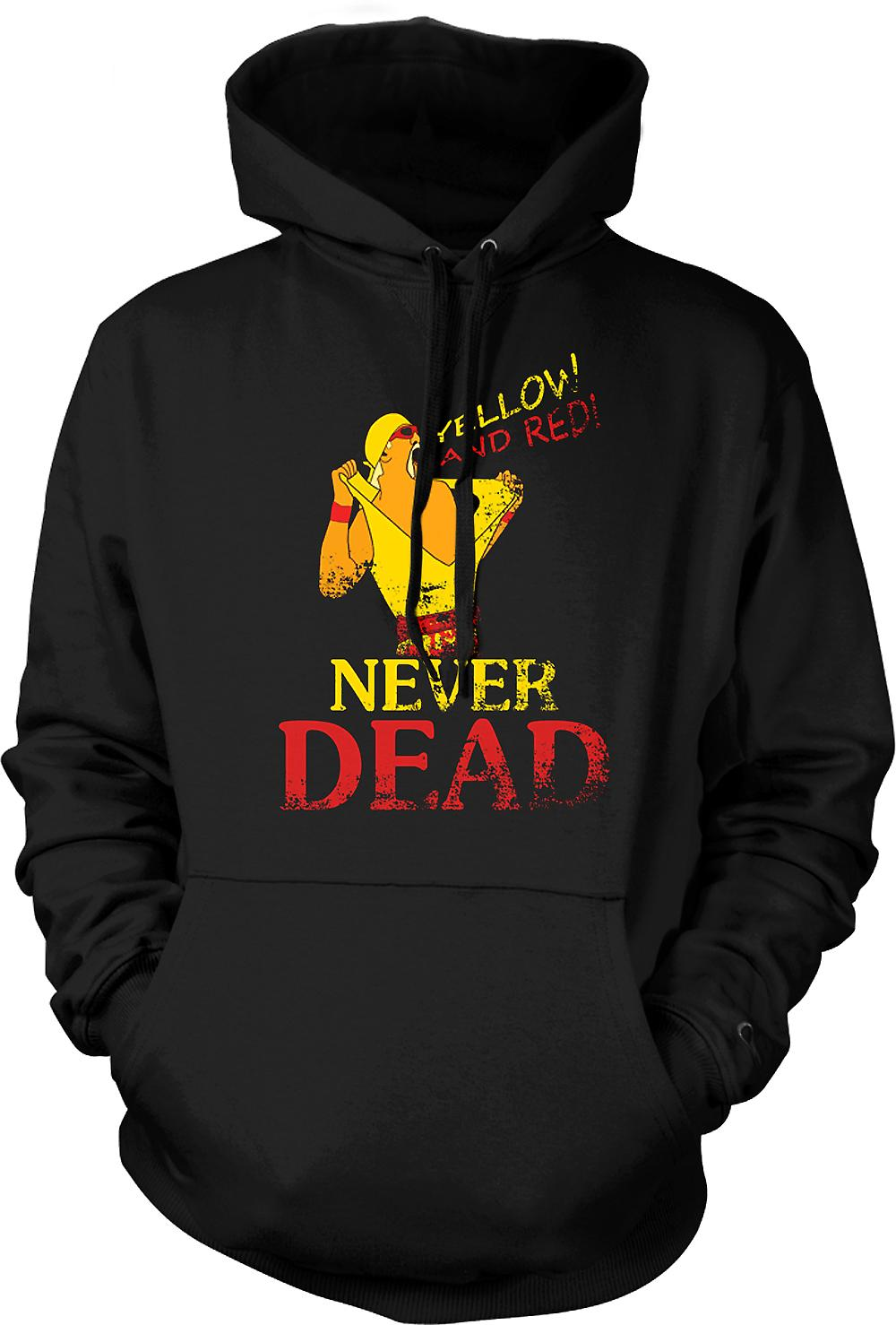 Mens Hoodie - Hulk Hogan - Yellow And Red Never Dead