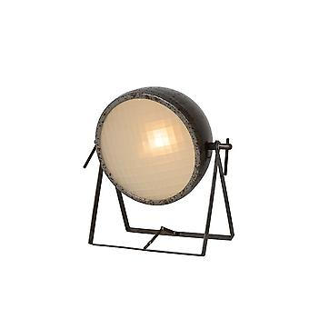 Lucide Mopedd Industrial Round Metal Rust Brown Table Lamp