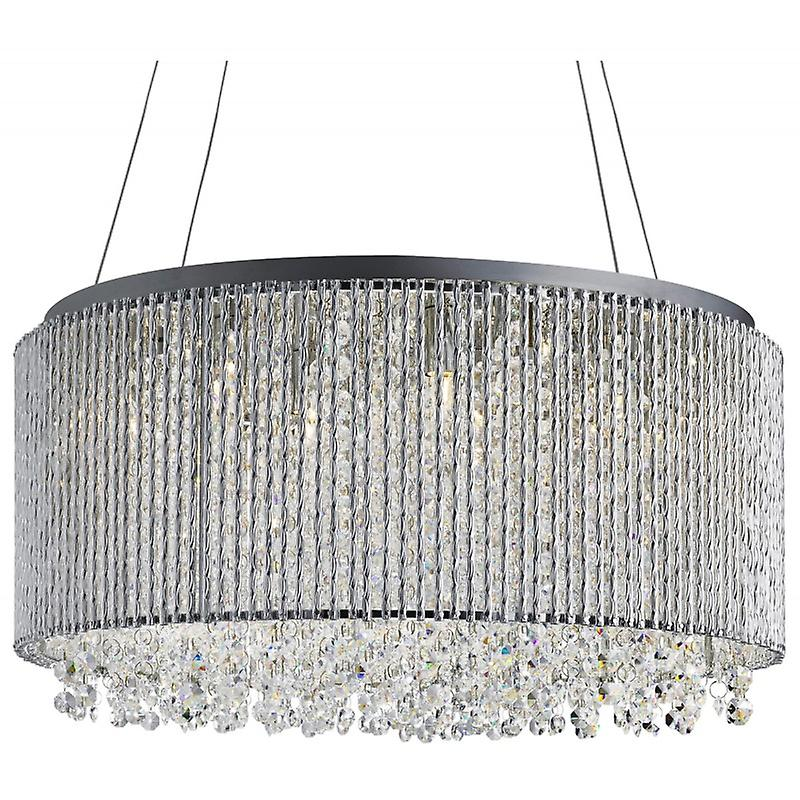 8 Light Ceiling Pendant Chrome With Crystals