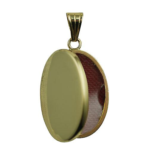 18ct Gold 26x19mm oval flat plain Locket